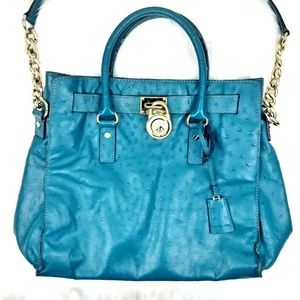 MICHAEL Michael Kors Teal Ostrich Leather Lg Tote